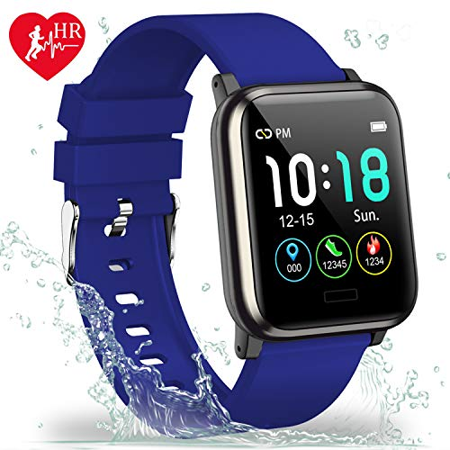L8star Fitness Tracker with Heart Rate Monitor, 1.3 inch Color Screen Smart Watch with Step Counter Calorie Counter Fitness Watch Sleep Monitoring Sedentary and Call Reminder for Men and Women (Blue)