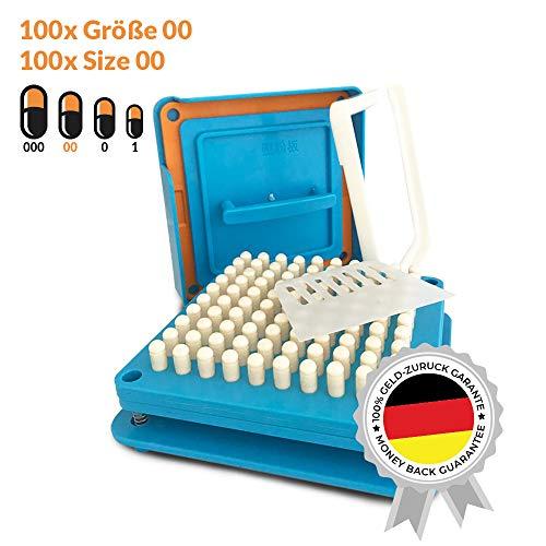Kapselfüller | Platz für 100 Kapseln | Größe 00 | Kapselfüllgerät zum befüllen von Kapseln
