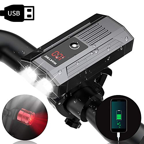 WAKYME Bike Light Set, 1200LM Upgrade 5200mAh USB Rechargeable Bicycle Light with Power Bank Function and Intelligent LED Display Headlight Taillight Cycling Light for Commuters, Road, Mountain Bikers