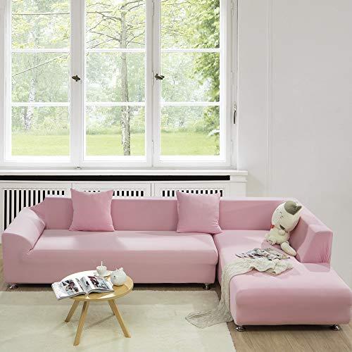 Jessi ca Elastischer Sofabezug, Weich Elastisch Farbecht Blumen-Muster, (Auch Für L-Form) Elastische Stretch, Für 4, 3, 2, 1 Sitzer,Rosa,4Seaterfor235~300cm