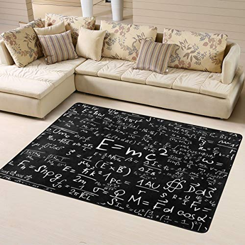 O-X_X-O Math Formula Equation Black Area Rug Non-Skid Comfy Home Decorate Floor Area Rug Machine Washable Carpet for Living Room Bedroom Playroom Dinning Room Kids Playing Mat (63x48 Inches)