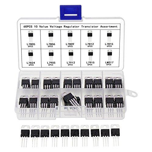 Kit de 60 reguladores de voltaje Aussel, 10 valores, L7805CV L7806L7809L7812L7815l7824L7905l7912L7915LM317