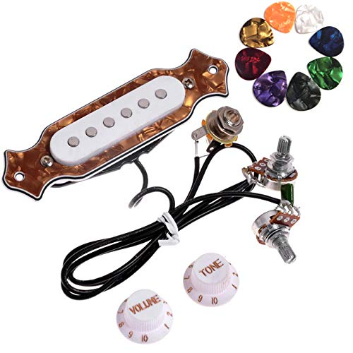 JOINSI 1 sets Pre-wired 6-string Cigar Box Guitar Pickup Soundhole Harness with Picks, Volume & Tone for Electric Guitar (Brown)