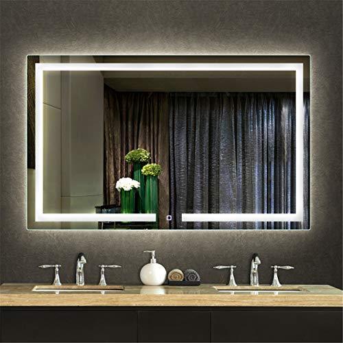 HL - Espejo de baño iluminado con luz LED interruptor táctil de desvaho (60 x 80 cm), color blanco
