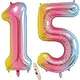 globos numeros 15 años, globo número 15 arcoíris para niña niño infantil, 40 Figuras helio globo inflable gigante,grande iridiscentes colores rosados rosa decoración fiesta de cumpleaños (xxxl 100cm)