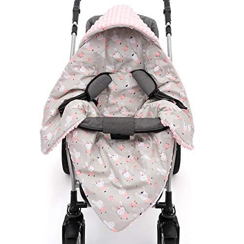 EliMeli Einschlagdecke für Babyschale Baby Decke für Autositz und Kinderwagen mit Füllung Minky Decke universal z.B. Maxi Cosi Ideal als Babyhörnchen Kuscheldecke Kinderwagedecke (Rosa - Hase)