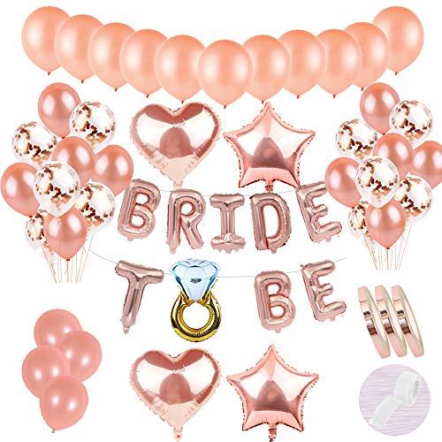 58 Stück JGA Deko Ballons Rosegold Set:Helium Buchstaben Folienballons Bride to BE Banner &30Latex Ballons &15 Konfetti Luftballon &4 Stern Herz Ballon für Tochter Mädchen Abschied Verlobung Party