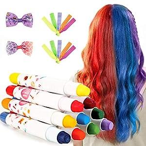 Fostoy Tiza para el Cabello,10 Colores No Tóxico Lavable Tinte Temporal Capilares para La Edad 4 5 6 Plus Niños Carnaval,Cumpleaños,Festival