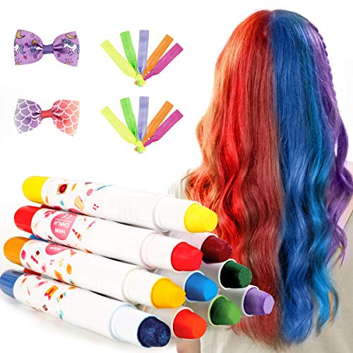 Haarkreide,Auswaschbar Haarkreide Temporäre Haarfarbe, 10 Kinder Haarkreide Set mit Schmetterling-Haarklammern-für Mädchen, Mädchen Geschenk