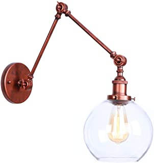 KWOKING Lighting Industrial Vintage Style 1 Light Wall Sconces Adjustable Swing Arm Wall Sconce Wall Light Lamp Fixture with Clear Globe Shade for Bedroom Living Room Restaurant Barn Warehouse Rust
