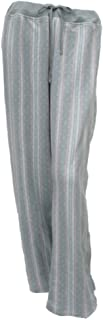 Women Gray Striped Print Fleece Sleep Pants Pjs Pajama Bottom