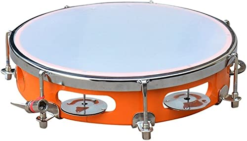 Swastik Super Band Tambourine Hand Percussion Musical Instrument 10 inch Fibre Daffli (Orange)