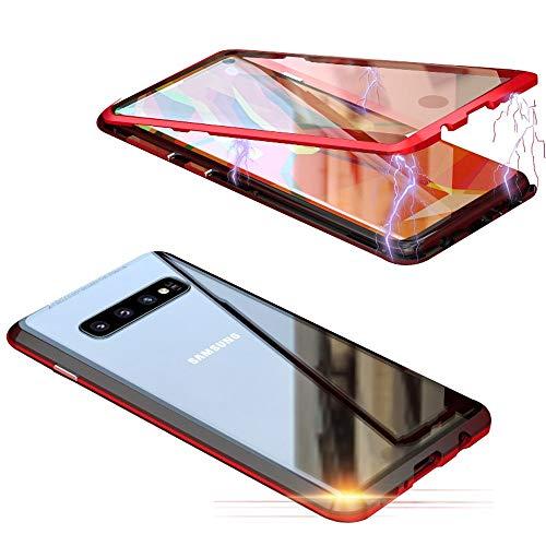 Jonwelsy Schutzhülle für Samsung Galaxy S10 (6,1 Zoll), 360 Grad vorne und hinten, transparent, gehärtetes Glas, Starke Adsorptionstechnologie, Metall Bumper Rot/Schwarz