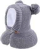 JFAN Gorro de Bebé Niña Invierno Sombrero con Double Cable pompón Bufanda con botón Caliente de Bebé...
