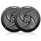 Pyle Marine Speakers - 4 Inch 2 Way Waterproof and Weather Resistant Outdoor Audio Stereo Sound System with 100 Watt Power and Low Profile Slim Style Design - 1 Pair - PLMRS4B (Black)