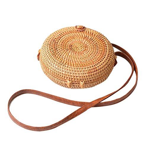 Bolsa redonda de mimbre Retro bolsa mujer Tendance de verano Casual bolsa de el hombro verano color Unie playa bolsa y bolsos