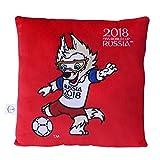FIFA Weltmeisterschaft 2018 - Plüsch Kissen rot mit Maskottchen Zabivaka 30x30cm