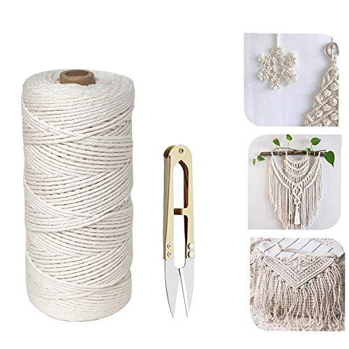 koitoy Makramee Baumwolle 2mm 250m,100% Weiches Macramee Garn für DIY Handwerk Basteln Wand Aufhängung, Pflanze Aufhänger,Schmuckherstellung Baumwollkordel (2mm 250m)
