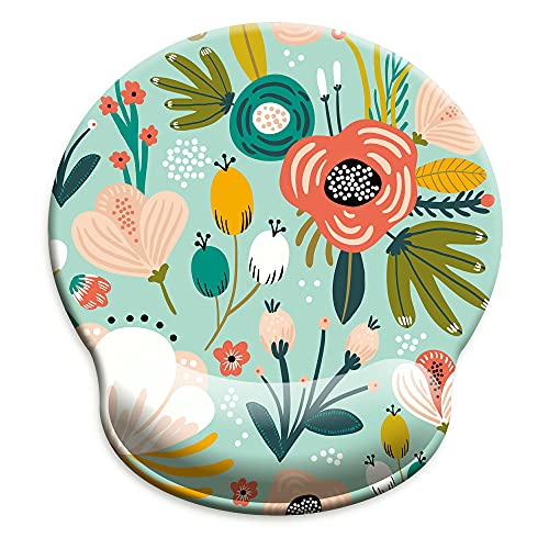HOPONY Ergonomic Mouse Pad with Wrist Support Gel Mouse Pad with Wrist Rest, Comfortable Computer Mouse Pad for Laptop, Pain Relief Mousepad with Non-Slip Rubber Base, 9 x 10 in,Mint Floral Teal