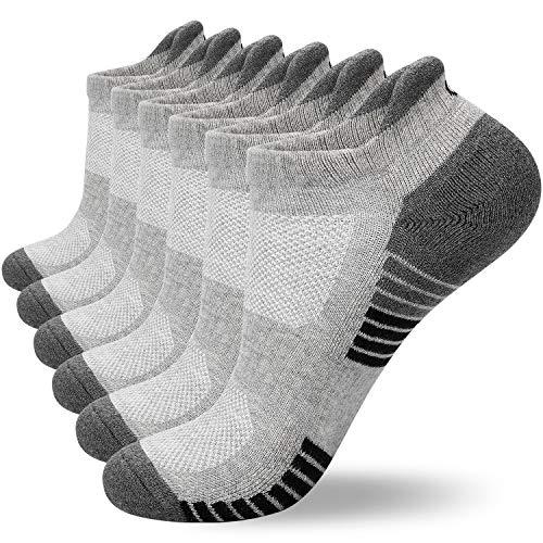 coskefy Sneaker Socken Herren/Damen Baumwollesocken Atmungsaktiv Sport Gepolsterte Lauf /Knöchel/Outdoor Söckchen, 6 Paar ,Hellgrau-2(6 Paare), 43-47