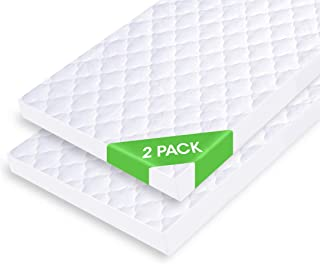 iLuvBamboo Waterproof Bassinet Mattress Pad Protector - 2 Pack - Fits Most Mattress - Hourglass, Rectangle, Oval - Soft Ba...