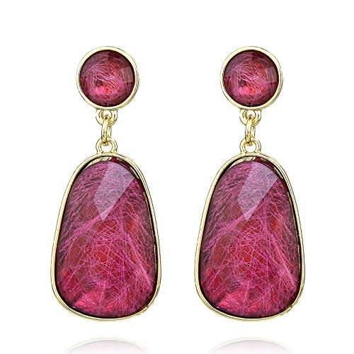 Pomina Colorful Geometric Faceted Crystal Glass Dangle Drop Earrings, Fashion Statement...