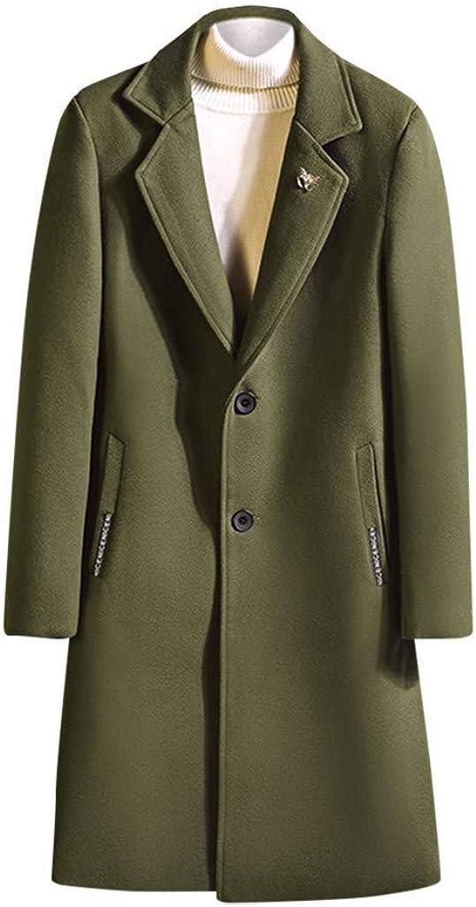 Men's Trenchcoat Winter Warm Button Down Windproof Jacket Coat Outwear