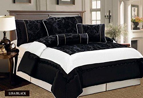 Damask Schwarz Tagesdecke geprägten Bettüberwurf, Bettdecke Ornamente Moderne 225x255 7tlg.