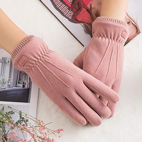 Nuevo Invierno Mujer Encaje Cálido Cachemira Tres Costillas Lindo Oso Mitones Doble Grueso Felpa Muñeca Mujeres Pantalla Táctil Guantes de Conducción-C63 C Pink