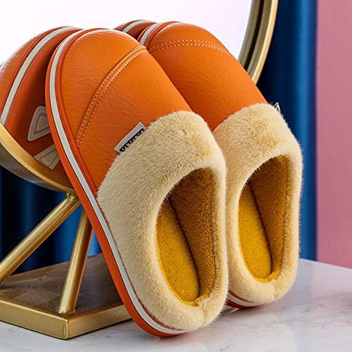 XZDNYDHGX Pantuflas Antideslizantes de Espuma para Hombre,Zapatillas Impermeables Casa de Invierno para Mujer, Piel cálida de Cuero Unisex Inicio Zapatos de Piso para Interiores Naranja EU 39-40
