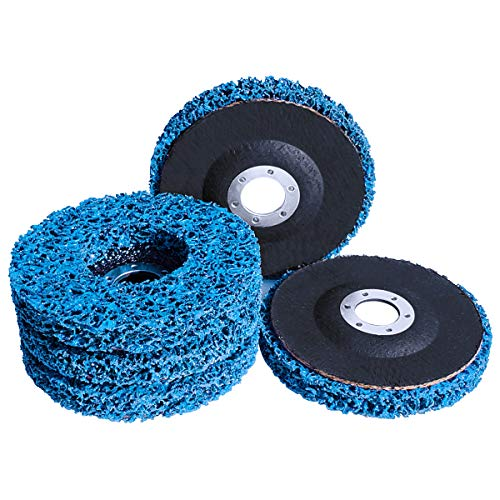 """M-jump 5 Pack - 4-1/2"""" x 7/8"""" Blue Paint and Rust Stripper Brush Easy Strip Discs Clean & Remove Paint, Rust and Oxidation"""