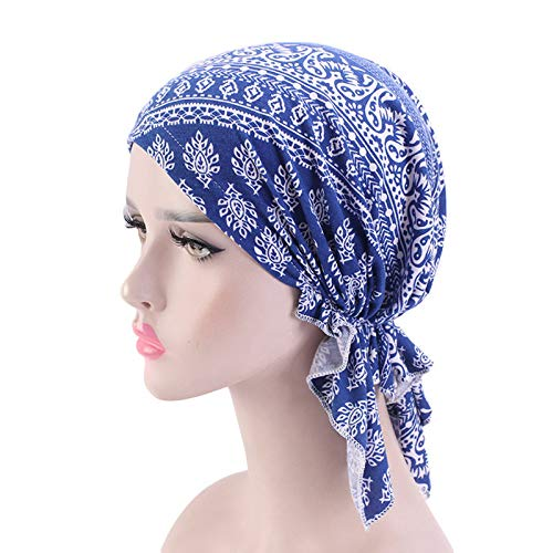 XKMY Diademas para mujer y mujer, bufanda elástica de algodón, gorro turbante con estampado de volantes, gorro de quimioterapia, gorro para mujer, accesorio para el cabello (color: 9)