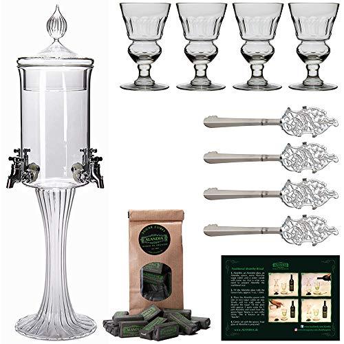 ALANDIA Absinth Zubehör Set Chat IV | 1X Absinth Fontäne | 4X Absinth-Gläser | 4X Absinth-Löffel | 1X Absinth-Zucker