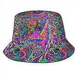 Yuanmeiju Setas Trippy Impresas Badehose Pescador Sombrero de poliéster Sombrero de Viaje Informal Sombrero para el Sol Gorras de Pescador
