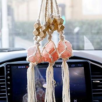3 Pieces Handmade Himalayan Salt Car Pendants Handmade Himalayan Salt Car Accessories Car Charm Rear View Mirror Himalayan Salt Car Rearview Mirror Pendant Hanging Ornament for Car Home Decor