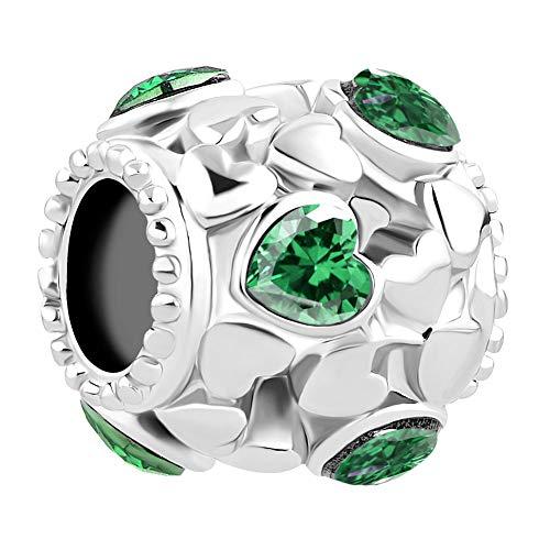 Uniqueen, distanziatore con pietra portafortuna e cuoricini, charm per braccialetti e base metal, colore: Verde, cod. UQ_DPC_MY815_X06_Parent