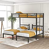 Metal Triple Bunk Beds with Guardrails ,Twin Over Twin & Twin Bunk Bed, 3 Bed Bunk Beds for Kids, Teens, Adults ,Can be Separated into 3 Twin Beds , Black
