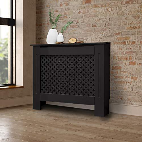 ECD Germany Cubierta del Radiador 78x19x82 cm MDF Negro Lacado Revestimiento Protector Moderno de Calefacción Patrón de Panal Superficie de Estantería Útil de Madera para Sala de Estar Dormitorio