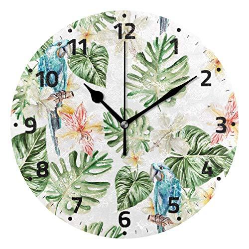 KUYJTHT Reloj de pared de hoja de árbol de palmera de loro que no hace tictac, decorativo para dormitorio, cocina, sala de estar, escuela, oficina, 9.4 pulgadas