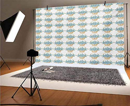 Ivory and Blue 5x3 FT Vinyl Photography Background Backdrops,Wicker Basket Design with Spring Season Blooming Flowers Background for Photo Backdrop Studio Props Photo Backdrop Wall