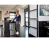 Homra Mülltrennsysteme mit Sensor – 3 Fach Mülleimer – 72 Liter (2×12 + 1×48 L) Design Treteimer aus Edelstahl Nexo - 3