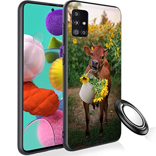 Galaxy A51 Case with Phone Ring Holder, Cow and Sunflower Rubber Full Body Protection Shockproof Cover Case Drop Protection Case for Samsung Galaxy A51