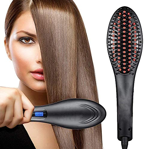 KWT Hair Electric Comb Brush 3 in 1 Ceramic Fast Hair Straightener For Women's Hair Straightening Brush with LCD Screen, Temperature Control Display,Hair Straightener For Women - (black)