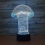 3D Lámpara Óptico Illusions Luz Nocturna, Casa De Setas De Dibujos Animados Lámpara De Mesita De Noche, Luces De Noche Para Niños Decoración De Escritorio 7 Colores Cambio De Botón Táctil Y Cable Usb