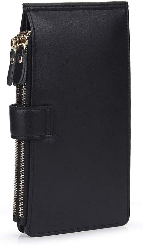 Leather Purse Hand Bag Elegant Zipper Bag Safety Leakproof Big Capacity (color   Black)