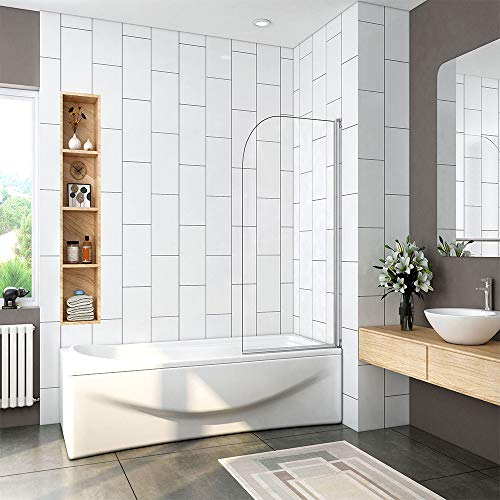 800x1400mm 180 Degree Pivot Single Panel Over Bath Shower Screen 5 mm Glass