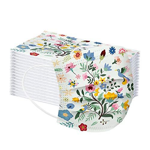 JMNy Kinder Mundschutz Multifunktionstuch, Einweg 3-lagig Schmetterlingsblumen Gedruckt Maske, Staubdicht Atmungsaktive Vlies Mund-Nasenschutz Bandana Halstuch