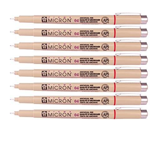 Sakura Micron Pigma Ink Drawing pens for Manga Drawing, Scrapbooking Supplies (Pack of 8) (04 Red)