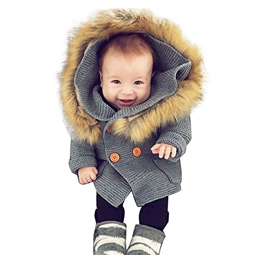 Infant Baby Boys Girls Knitted Cardigan Coat Fall Winter Clothes 0-2 Years Old,Toddler Fur Collar Hooded Warm Top (6-12 Months, Gray)