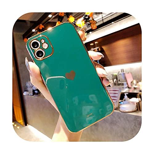 Moda amor corazón chapado teléfono caso para iPhone 12 Pro Max 11 Pro Max XS Max 7 8 Plus X XR 12 Mini SE 2020 lindo suave TPU Coque-verde-para iPhone 7 Plus